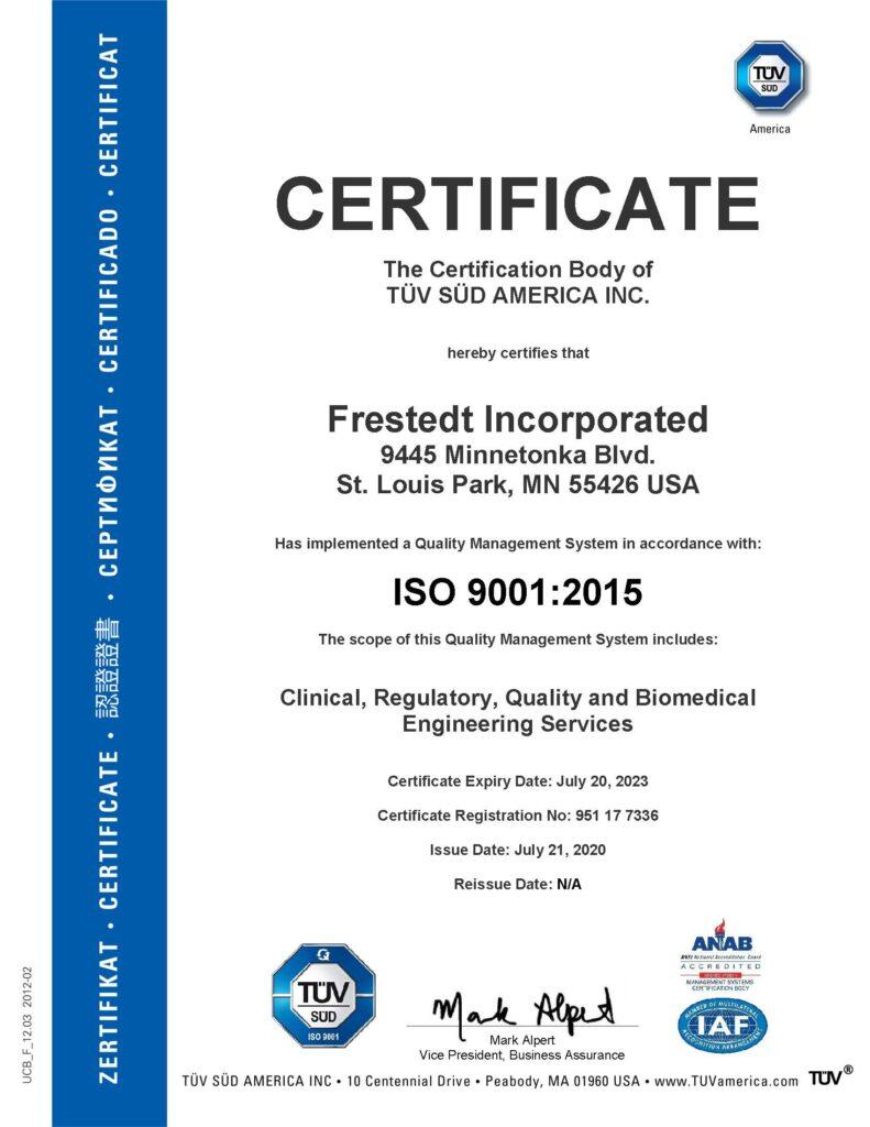 TÜV SÜD America ISO 9001: 2015 Certificate