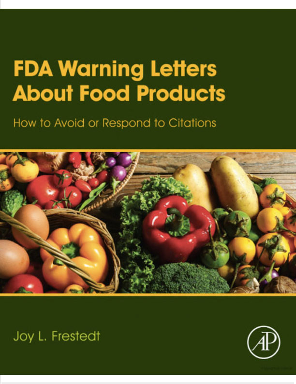 FDA Warning Letters about Food Products, green book cover with vegetables