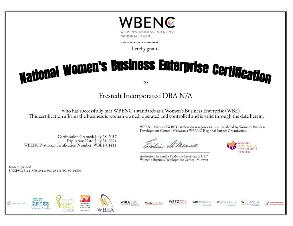 National Women's Business Enterprise Certificate