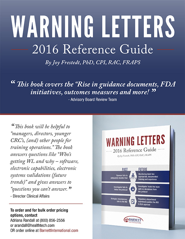 """Flyer for the book """"Warning Letters 2016 Reference guide"""" with quotes and picture of book"""