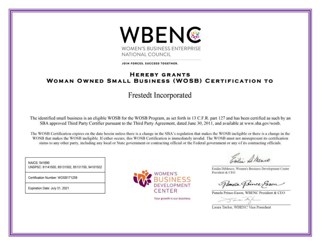 Woman Owned Small Business Certificate