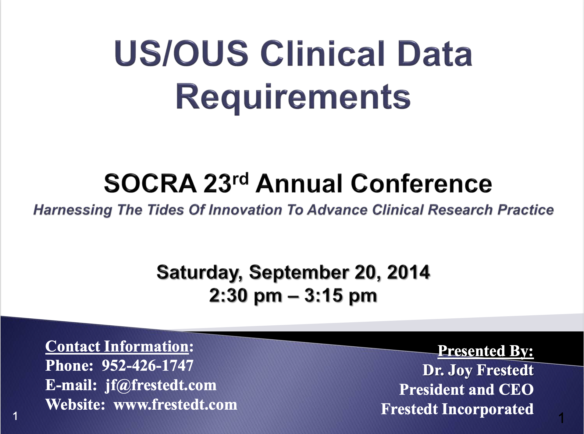 SOCRA 23rd Annual Conference: US/OUS Clinical Data Requirements flyer