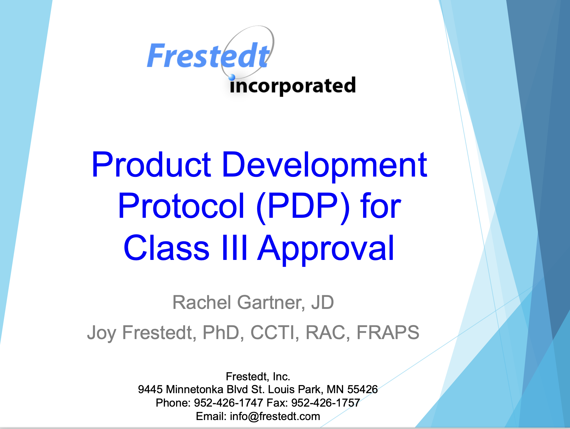 """Flyer for """"Product Development Protocol for Class III Approval"""" talk"""