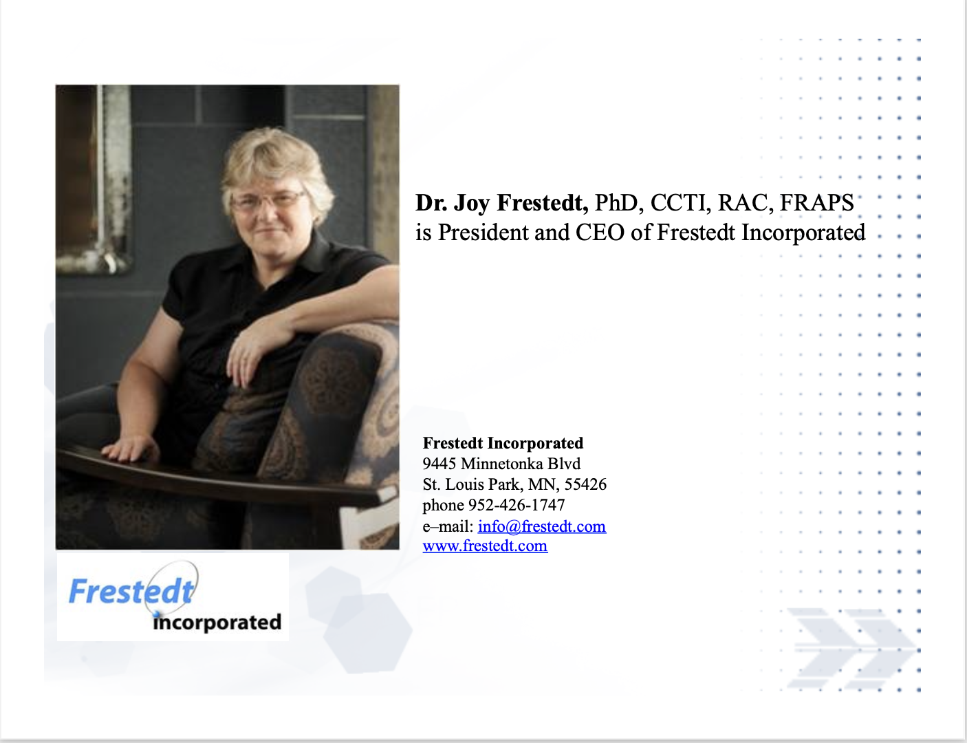 Photo of Joy Frestedt wiht Frestedt Incorporated conatct info