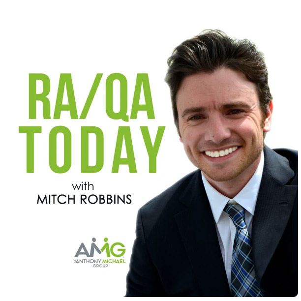 """Smiling man with """"RA/QA Today with Mitch Robbins"""""""