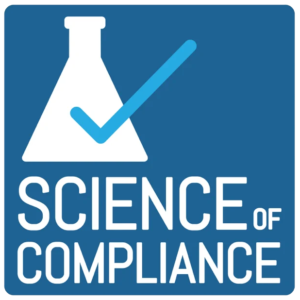 Science of Compliance Logo - Blue square wthi white beaker and light blue check mark