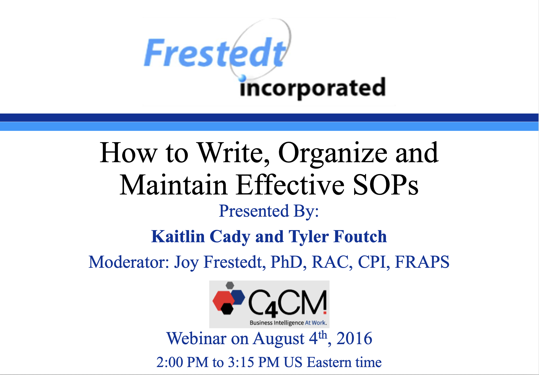 """Flyer for """"How to Write, Organize and Maintain Effective SOPs"""" talk"""