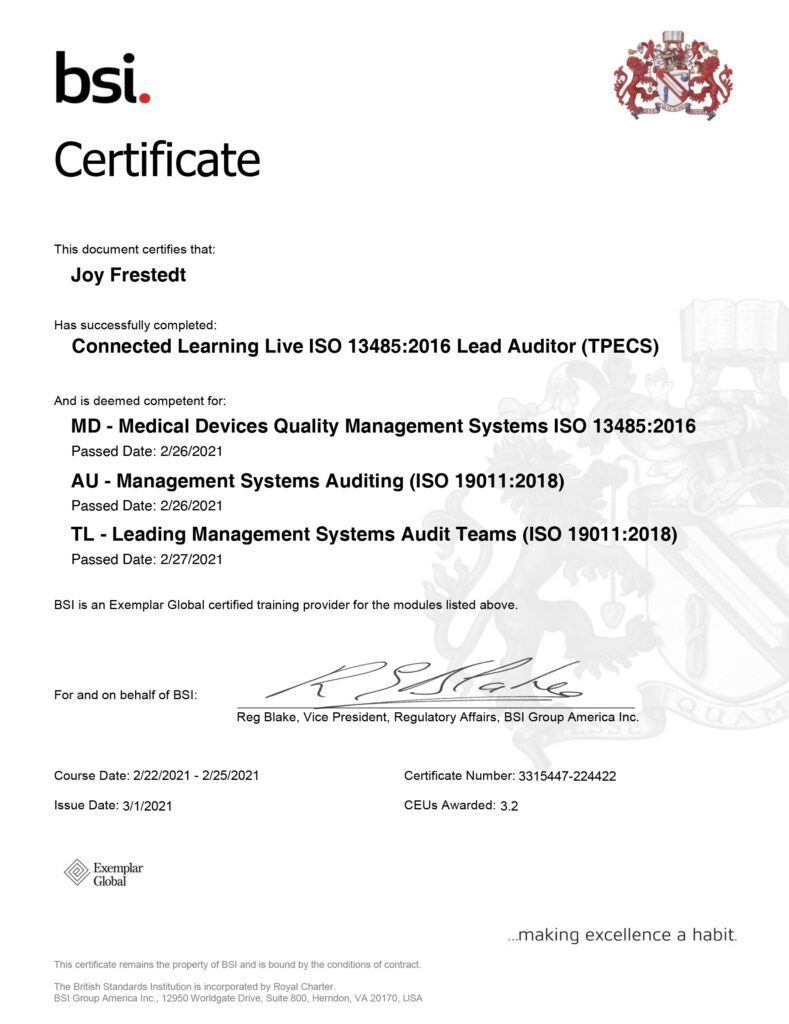 ISO 13485 Certified Lead Auditor Certificate