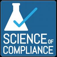 Science of Compliance Logo - Blue square wthi white beaker and light blue check mark